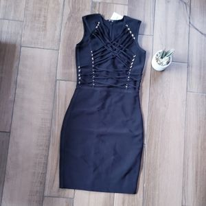 Black Sexy Bodycon Lace Up Mini dress S